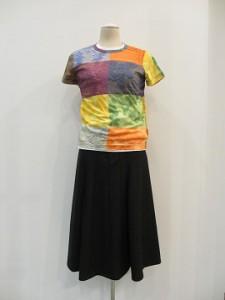綿天竺パッチワークプリントTシャツ (A柄 /size S)