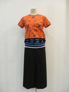 綿天竺プリント×ボーダー天竺Tシャツ (赤系×ネイビー/ブルー / size  S)