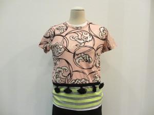 綿天竺プリント×ボーダー天竺Tシャツ  (ピンク系×グレー/イエロー / size S/M)